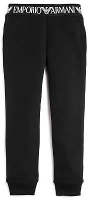 Armani Junior Girls' Fleece Logo Tape Jogger Pants - Little Kid, Big Kid
