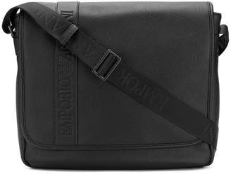 Emporio Armani logo flap messenger bag