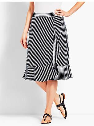Talbots Cascading Faux-Wrap Jersey Skirt-Stripe