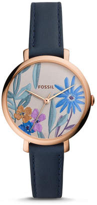 Fossil Jacqueline Three Hand Navy Leather Watch