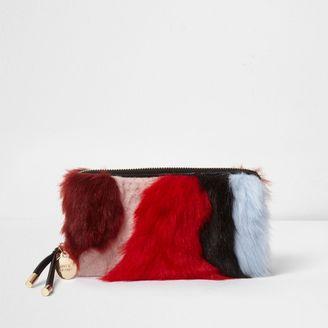 River Island Womens Red multi-colouRed faux fur zip around purse