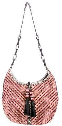 Jimmy Choo Lara Elaphe-Trimmed Woven Cord Crossbody Bag
