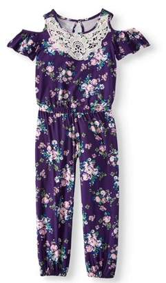 ONE STEP UP Lace Trim Floral Jersey Jumpsuit (Little Girls & Big Girls)