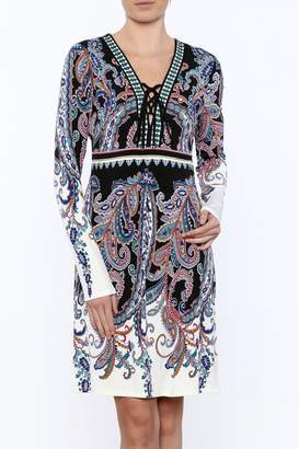 Hale Bob Long Sleeved Paisley Print Dress