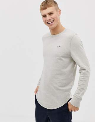 Hollister icon logo long sleeve top in oatmeal