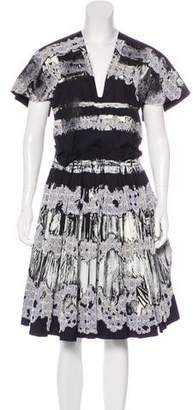 Bottega Veneta Pleated Lace Paint-Print Dress