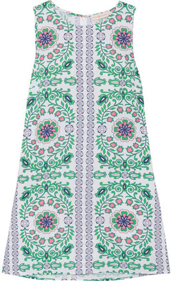 Tory Burch - Garden Party Printed Linen-blend Mini Dress - Green $250 thestylecure.com