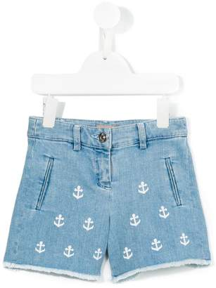 No.21 Kids anchor print denim shorts