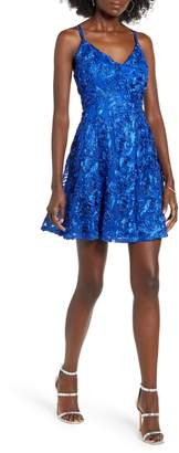 Love, Nickie Lew Strappy Soutache Lace Skater Dress