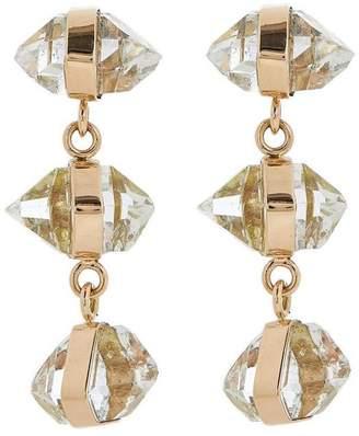 Melissa Joy Manning Gold Herkimer Diamond Triple Drop Earrings