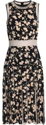 Michael Kors Layered Lace-Paneled Floral-Print Crepe Dress