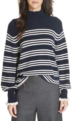 Rebecca Taylor Striped Wool Cotton Blend Blouson Sleeve Sweater
