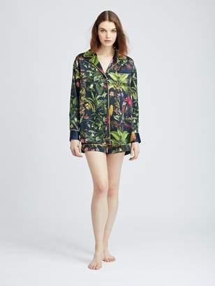 Oscar de la Renta Toucan Jungle Silk-Charmeuse Pajama Shirt
