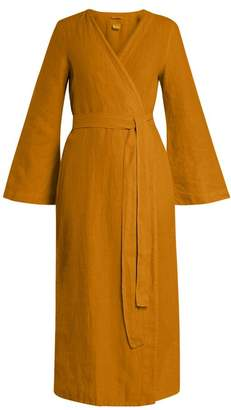 Once Milano - Bell Sleeved Linen Robe - Womens - Dark Yellow