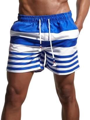 Trunks YuKaiChen Men's Stripe Swim Quick Dry Casual Swim Shorts 02 Tag Asia XXL