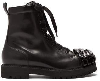 Rochas Crystal Embellished Leather Ankle Boots - Womens - Black