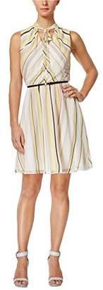 Calvin Klein Women's Petite Belted Chiffon Fit & Flare Dress