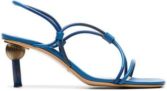 Jacquemus blue Olbia crossover strap leather slingback sandals
