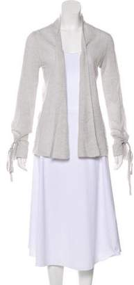 White + Warren Bow-Accented Open-Front Cardigan