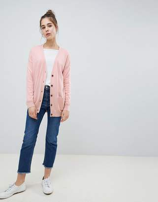 Asos DESIGN boyfriend cardigan in fine knit