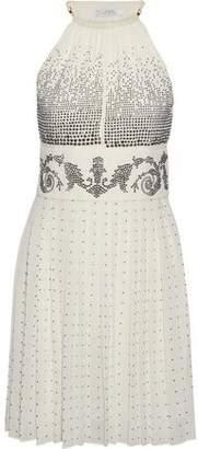 Versace Crystal-Embellished Plissé-Georgette Halterneck Mini Dress