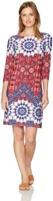 London Times Women's Petite Imperial Tile 3/4 Sleeve Matte Jersey Shift Dress