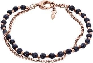 Fossil Shimmer Glass Stone Double Chain Women's Bracelet