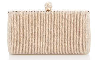 Quiz Gold Shimmer Pleat Box Bag