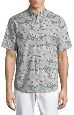 Black & Brown Black Brown Slim-Fit Floral Short-Sleeve Shirt
