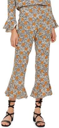 Topshop Leopard Spot Frill Trousers