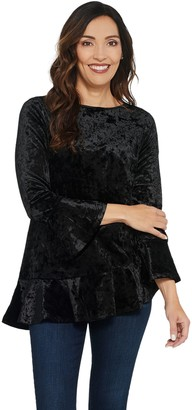 Linea By Louis Dell'olio by Louis Dell'Olio Crushed Velvet Top with Ruffle Detail