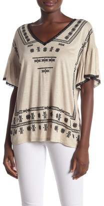 Democracy Embroidered Short Bell Sleeve Tee