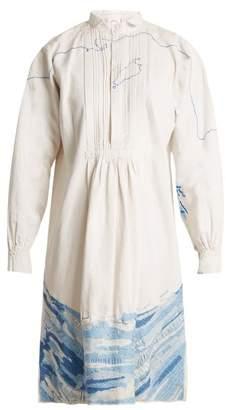 Kilometre Paris - Saltaire Embroidered Vintage Linen Shirtdress - Womens - White Multi