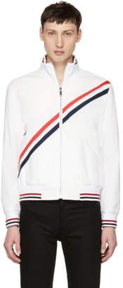 Thom Browne White Diagonal Stripe Track Jacket
