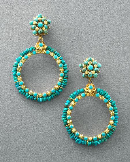 Jose & Maria Barrera Turquoise Hoop Earrings