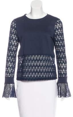 See by Chloe Crochet-Paneled Long Sleeve T-Shirt