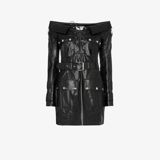 Faith Connexion Bardot lace-up faux leather mini dress