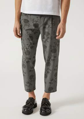 Emporio Armani Floral Print Virgin Wool Trousers