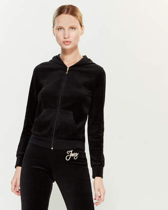 Juicy Couture Glitter Logo Velour Zip Hoodie