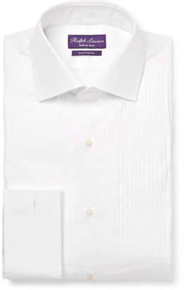 Ralph Lauren Purple Label White Aston Double-cuff Bib-front Cotton-poplin Tuxedo Shirt