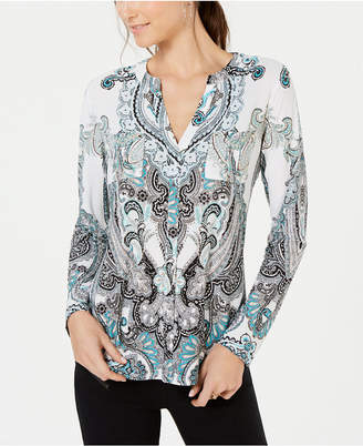 INC International Concepts I.N.C. Printed Front-Pocket Top, Created for Macy's