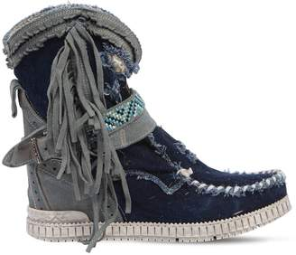 EL VAQUERO 70mm Arya Destroyed Denim Wedge Boots