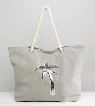 South Beach Gray Washed Beach Bag with Palm Tree Sequins