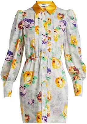 MSGM Floral-print cotton shirtdress