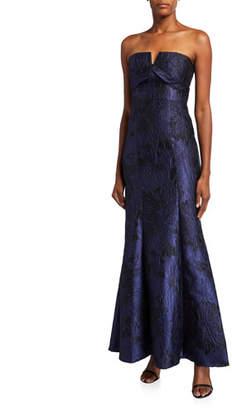 Aidan Mattox Strapless Jacquard Column Gown