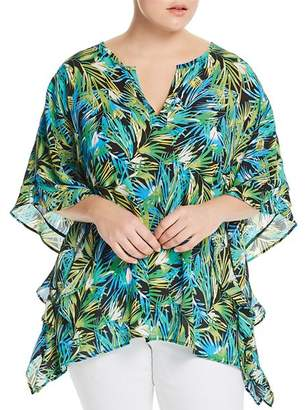 Status by Chenault Plus Tropical-Print Poncho Top