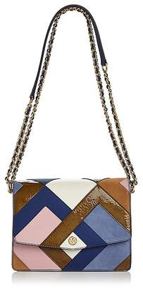 Tory Burch Robinson Color-Block Leather & Suede Pierced Shoulder Bag