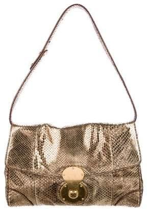 Ralph Lauren Purple Label Metallic Python Shoulder Bag