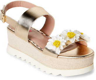 Betsey Johnson Gold Pipper Floral Flatform Sandals