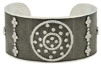 Freida Rothman Two-Tone Rhodium Plated Sterling Silver Industrial Bezel Set CZ Cuff Bracelet